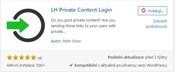 Plugin LH Private Content Login