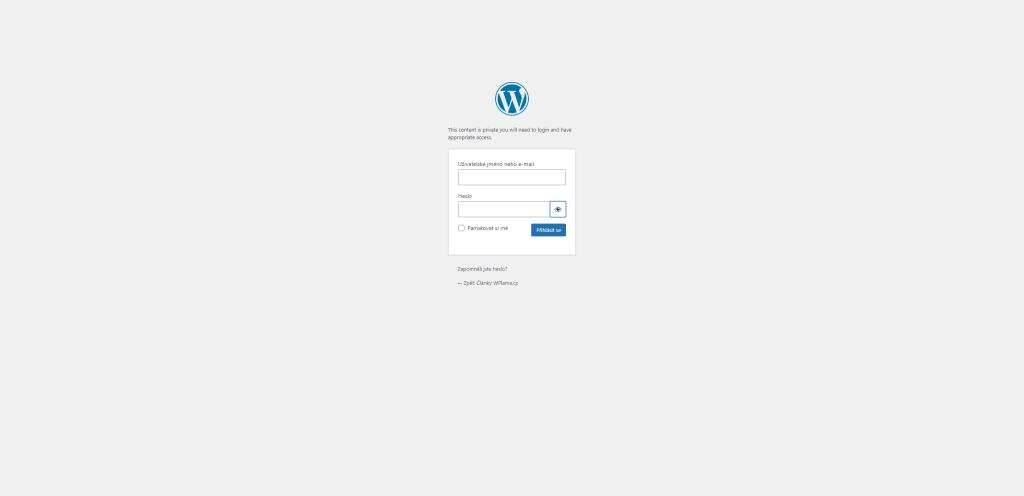 Přihlášení v případě zobrazení soukromého obsahu ve WordPress