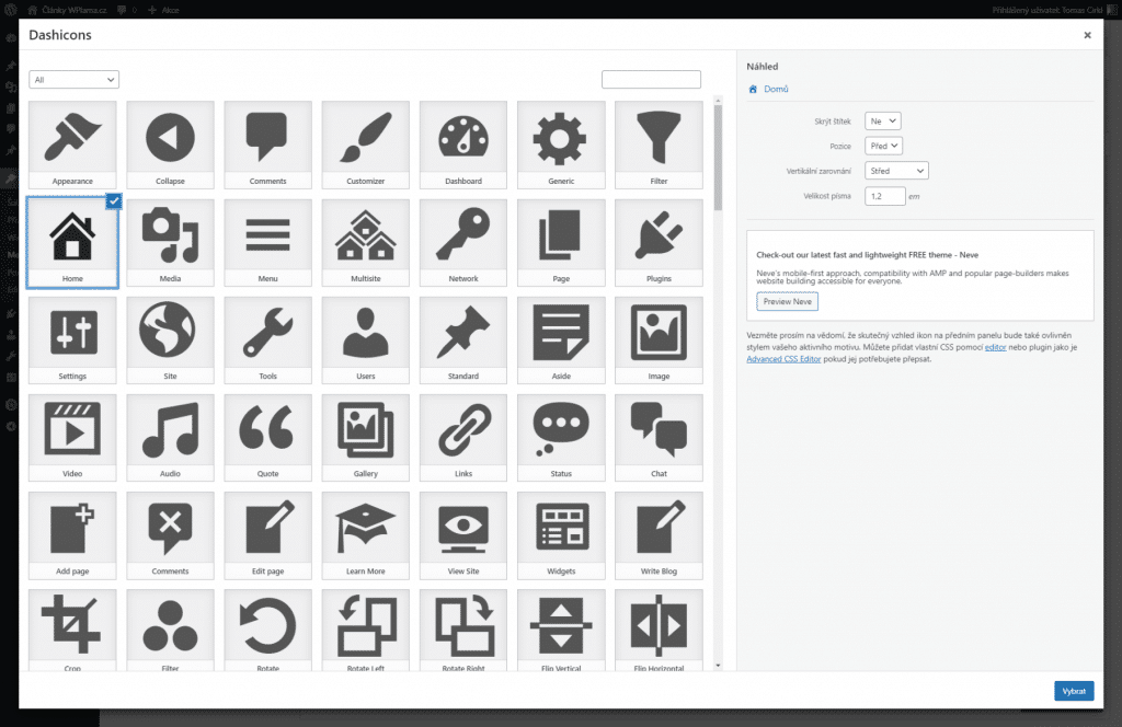 Výběr ikony do menu