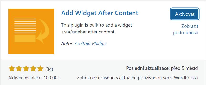 Add Widget After Content plugin