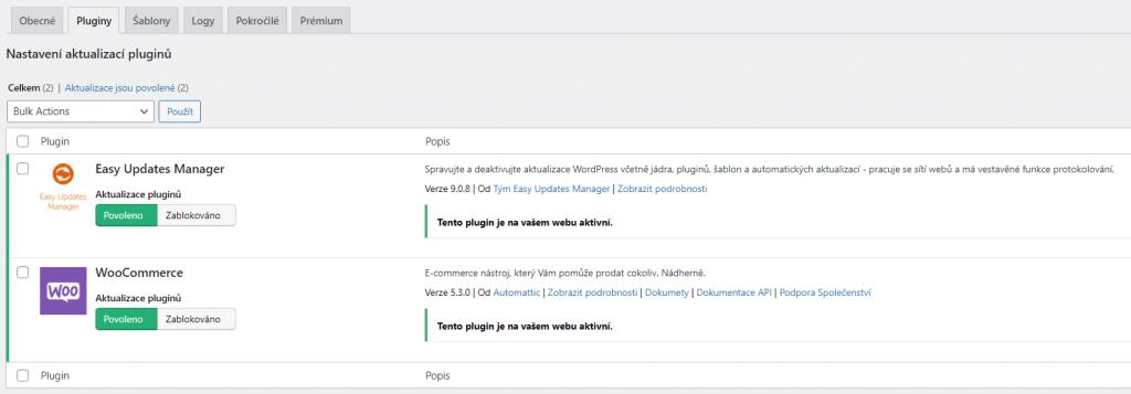 Nastavení aktualizací pro pluginy