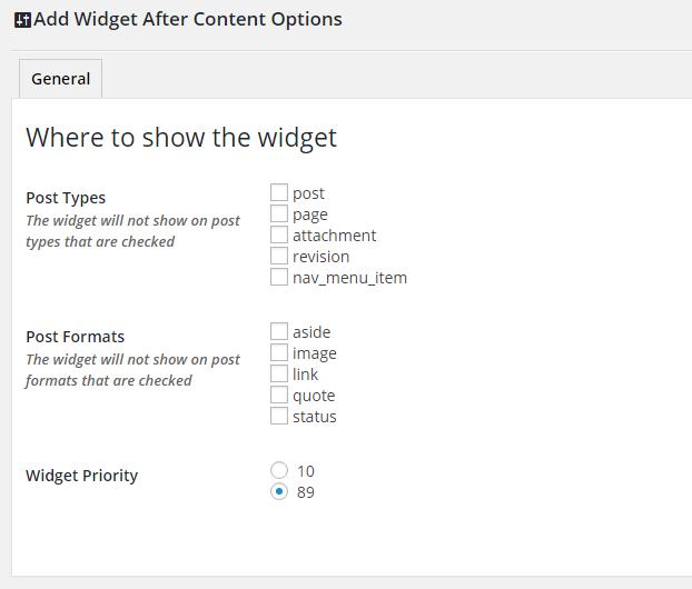 Nastavení Widget After Content