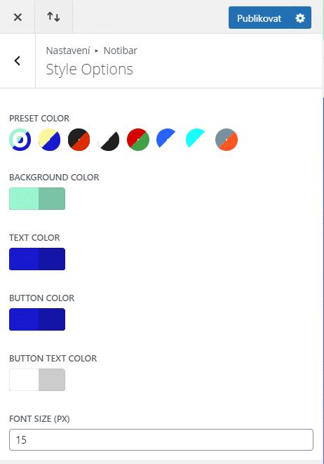 Style Options - nastavení vzhledu