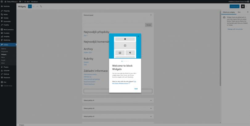 WordPress Gutenberg widgety