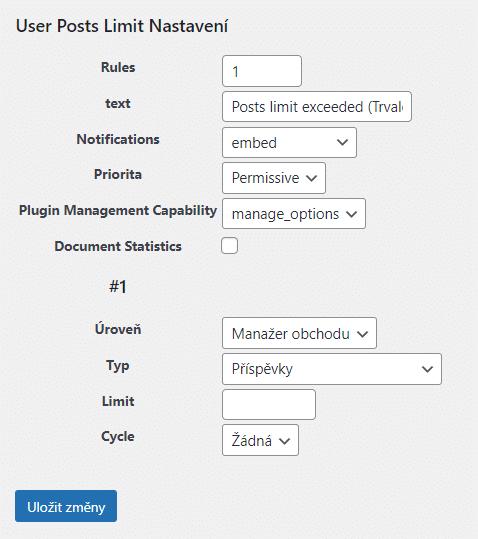 User Posts Limit - Nastavení