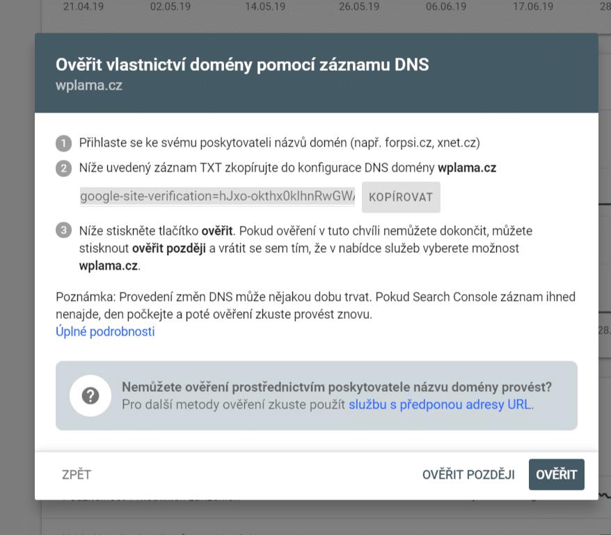 Ověřit vlastnictví domény pomocí záznamu DNS